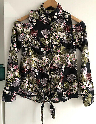 Girls Innocence Kids Shoulder Cut Out Shirt - 11 Years - Floral - Knot Tie Front