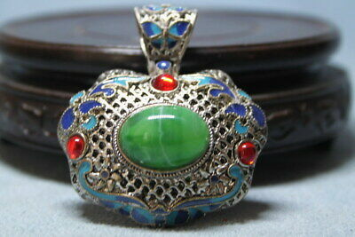 Decoration Miao Silver Inlay Green Jade Precious Auspicious Beautiful Pendant