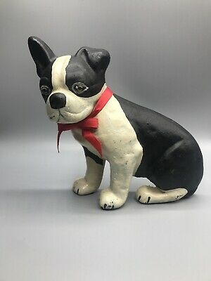 Vintage Cast Iron Boston Terrier Door Stop Marked Steve Odor EMIG#8031