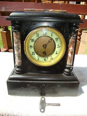 Antique French Mantel Clock Marble Stone 19th Century Working 8 Day Key