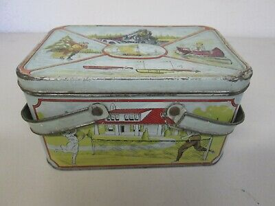 Vintage Antique Tin Lunch Box / Biscuit Tin Great Litho Graphics Used Condition