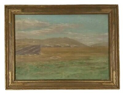Antique 19th Century American Coastal Landscape Oil Painting New York Mystery