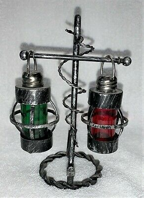 Vintage Nautical Salt and Pepper Shakers Red &Green Lanterns on Anchor