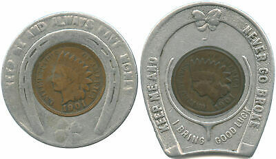 Lot of 2 Good Luck Token Encased 1901 Indian Cents