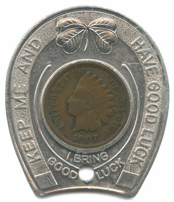 Sesquicentennial Newcomerstown, OH Good Luck Token Encased 1907 Indian Cent