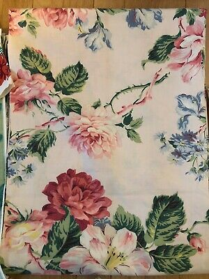 Vtg Retro 50s 76 x 68 Cotton Curtain Pink Green Floral Cottage Fabric