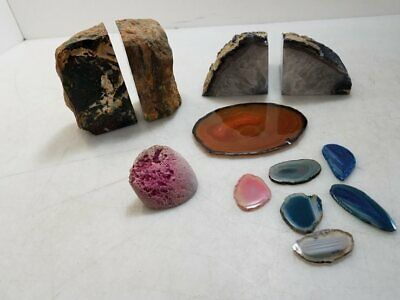 Lot of Agate Slices and Stone Bookends