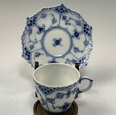 Royal Copenhagen Blue Fluted Full Lace Demitasse Cup & Saucer Set