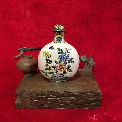 Antique Collection Asian Chinese Handpainted Flower Art Cloisonne Snuff Bottle