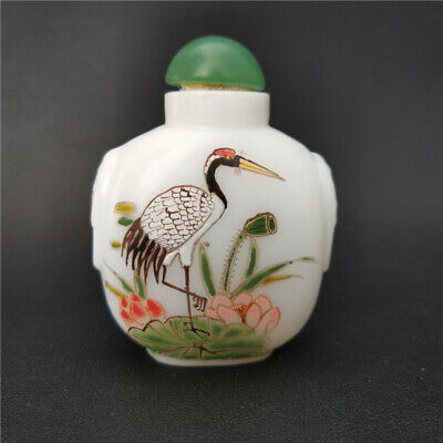 uncommon Ancient collectable white coloured glaze Red-crowned crane snuff bottle