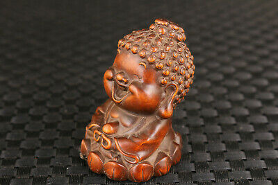 Japan chinese old boxwood hand carving buddha statue figure netsuke hand piece