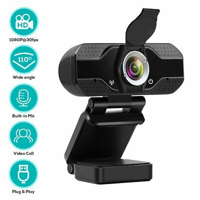 1080P HD Webcam with Privacy Cover PC Laptop Desktop USB Cameras w/Microphone