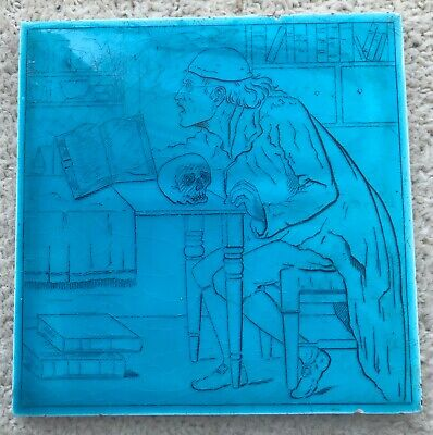 Beautiful Minton and Hollins Turquoise glazed tile. Aesthetic Victorian