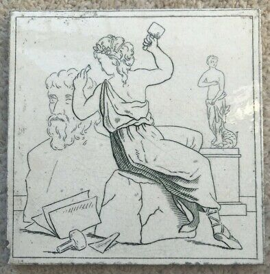 Beautiful Minton and Hollins tile of a sculptor. Aesthetic Victorian