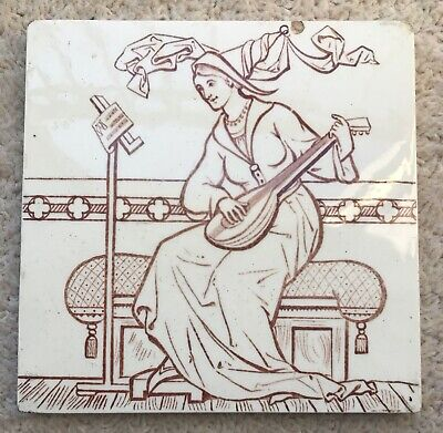 Beautiful Copeland tile of a lady playing a lute. Aesthetic Victorian