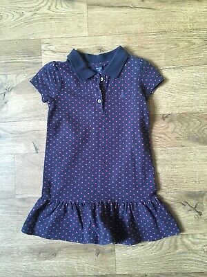 Girls Baby Gap Dress Navy Red Spots Age 3 Years