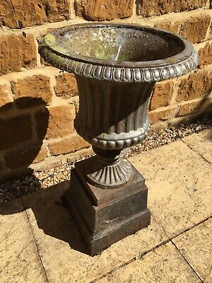 Large Victorian cast iron garden urn - Single But Pair Available, garden antique