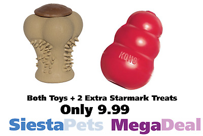 Kong & StarMark tough Toy Bone Treats Puppy Small Dog Bundle  - NQP