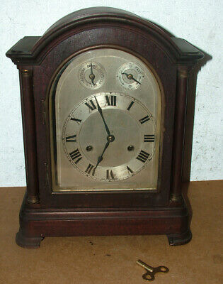 """Antique Mantel Shelf Clock Wood Case Silvered Face 15"""" Tall Working"""