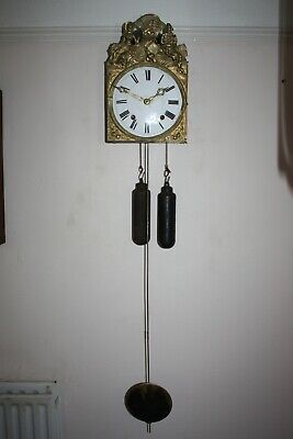 french Comtoise Morbier Clock with pendulum and weights  repeater. working good