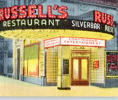 RUSSELL'S silver bar & THEATER restaurant CHICAGO il POSTCARD