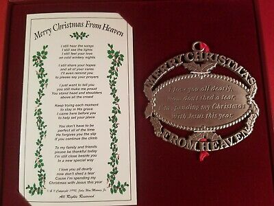 Merry Christmas From Heaven Pewter Ornament, Loved One Memorial Tree Decoration