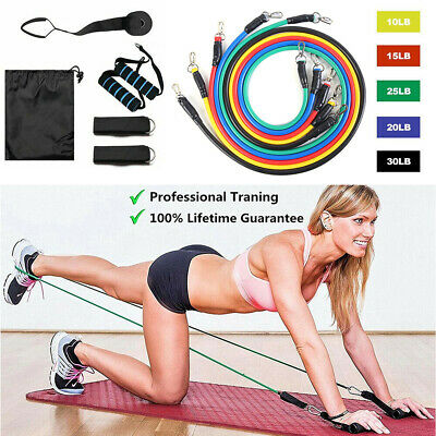 Resistance Bands Workout Exercise Yoga 11 Piece Set Crossfit Home Fitness Tubes
