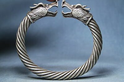 Collectable Noble Miao Silver Carving Two Dragon Head Souvenir Elegant Bracelet