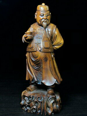 Noble Boxwood Carving Landlord Took Silver Ingot Hand Exquisite Beautiful Statue