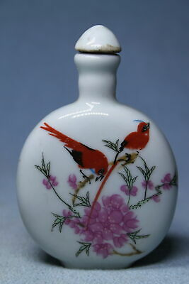 Collectable Ancient Porcelain Painting Red Bird Precious Beautiful Snuff Bottles
