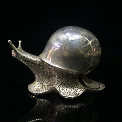 Collectable Handwork China Miao Silver Carving Snail Elegant Auspicious Statue