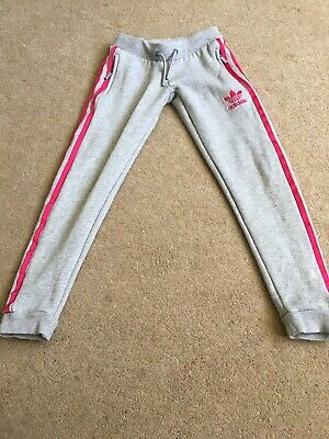 Girls Grey/Pink Adidas Joggers 7 -8 Years