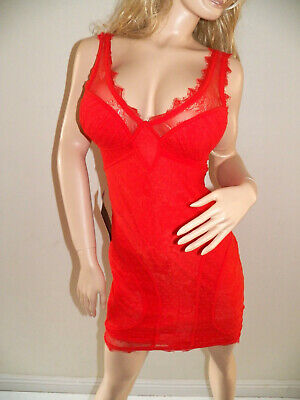 NWT bebe red deep v neck overlay lace lingerie straps sexy top dress S Small