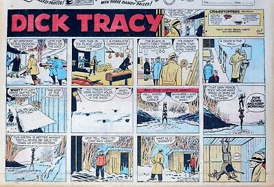 Dick Tracy by Chester Gould - large half-page Sunday color comic - Feb. 17, 1957