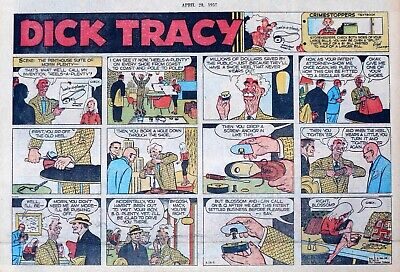 Dick Tracy by Chester Gould - large half-page Sunday color comic, April 28, 1957
