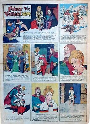 Prince Valiant by Hal Foster - large full page color Sunday comic March 26, 1950