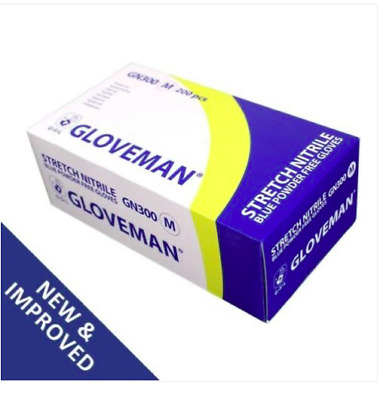 10  Boxes of 200 Gloveman Blue Stretch Nitrile Powder Free Gloves Small