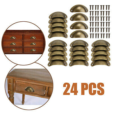 24pcs Retro Cupboard Door Cabinet Drawer Kitchen Furniture Antique Shell Handle