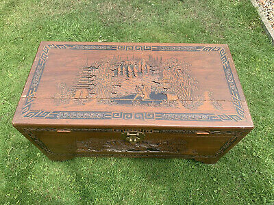 Antique/Vintage-Heavily Carved Chinese Camphor Wood Sea Chest/Chest/Box