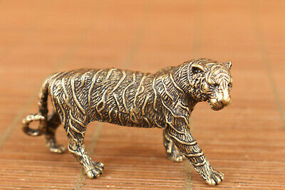 chinese old bronze hand carved tiger statue figure collectable pendant netsuke