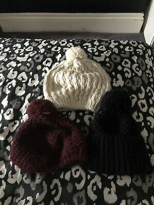 Accessorize & Topshop Bobble Hats x3