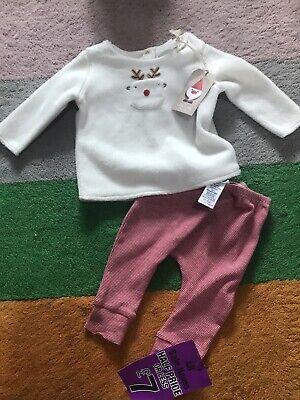 Baby Girl NEXT 3-6 Months Pyjamas PJ's 2 Piece Set Reindeer Fleece Warm