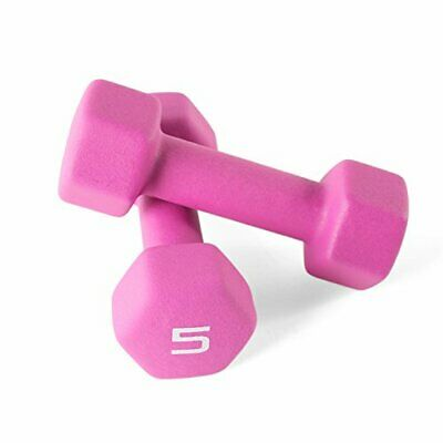 5 lb. CAP Barbell Hex Neoprene Dumbbells (2).10 Pounds Total. NEW Pink Weights
