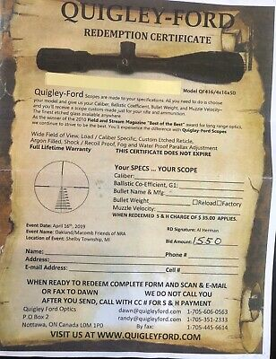 Quigley-Ford Rifle Scope: 4-16X50 Brand New - certificate ready for purchase