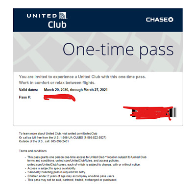 Two (2) United Airlines UA Club Lounge One-Time Passes - Expire March 27, 2021