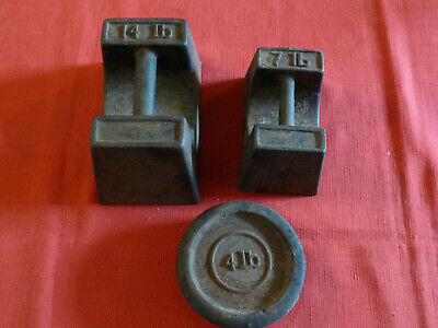 Vintage 14 lb, 7 lb, 4 lb Cast Iron Imperial Weights