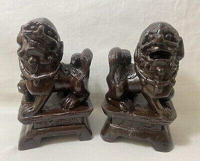 Chinese Antique Pair Foo Dog Hand Carved Hard Wood Sculptures Lion Guardian 6.5""