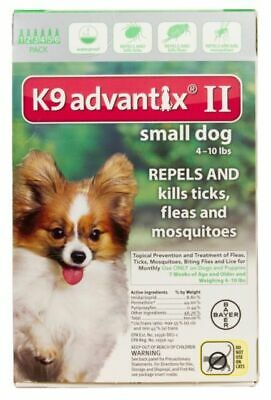 Bayer K9 Advantix II Flea and Tick Prevention for Small Dogs 6 Doses - 4-10 lbs