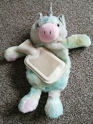 Soft Plush Teddy Unicorn. Hot Water Bottle Cover. (Small Water Bottle Sized)