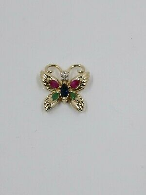 14k Yellow Gold Diamond, Emerald, Ruby, & Sapphire Butterfly Pendant